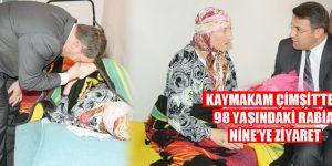 Kaymakam Çimşit'ten 98 Yaşındaki Rabia Nine'ye Ziyaret (Videolu)