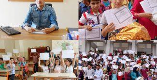 Viranşehir'de Suriyeli öğrenciler de karne sevinci yaşadı